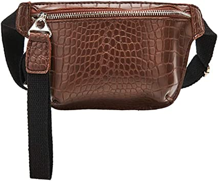 DONG Belt bagWaist Bag for Women Chest Bag PU Leather Fanny Pack Phone Pouch Chest Packs Ladies Wide Strap Belt Bag Female Crossbody Bag Brown: Amazon.es: Equipaje