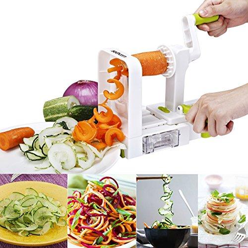 Spiralizer 5-Blade Vegetable Spiralizer,Sedhoom Foldable Spiral Slicer,Zucchini Noodle & Veggie Pasta & Spaghetti Maker for Low Carb/Paleo/Gluten-Free Meals by Sedhoom (Image #6)