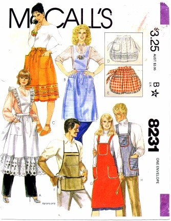 Amazon.com: McCall\'s 8231 Sewing Pattern Misses and Mens Aprons ...