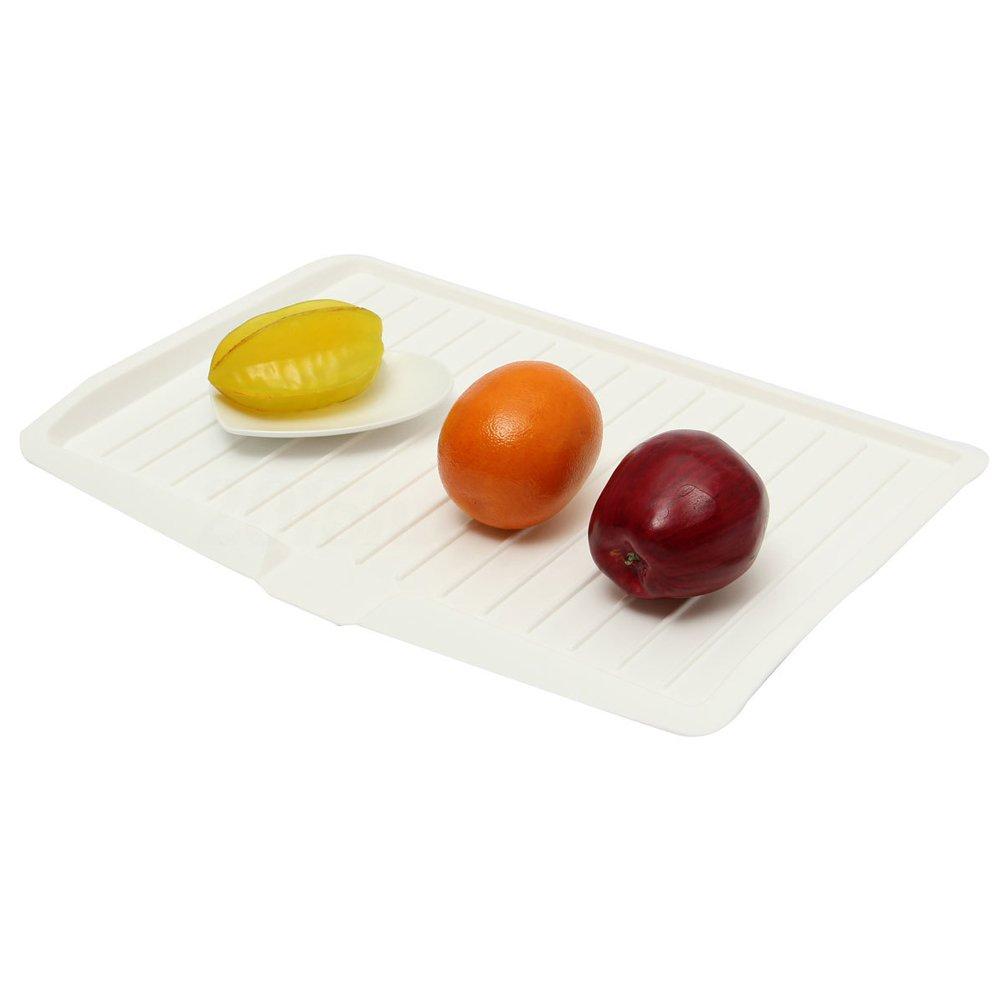 bianco OUNONA Vassoio di gocciolatoio di plastica della piastra di piatto della frutta Piatto del vassoio della cucina del supporto della coltelleria