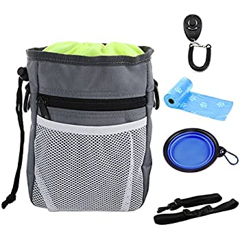 GUSTYLE Dog Treat Pouch Puppy Training kit with Adjustable Strap, One  Training Clicker and One Collapsible Food Water Bowl   2 Roll Poop Bags 7c64e72ecf