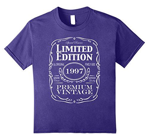 Kids 21st Birthday Gift T-Shirt - Born in 1997 Turning 21 Tee 12 Purple