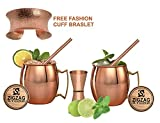 (ZIGZAG STORE) 100% Pure Copper Mugs / Cups,16 Oz, Free 2 Copper Straw, 1 Copper Jigger, 2 Wood Coasters + INCLUDE BRASLET