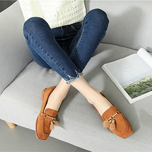Btrada Womens Fur Suede Slip On Loafers Shoes Square Toe Driving Moccasins Shoes Flat Ballet Boat Shoes Brown r8639X9L