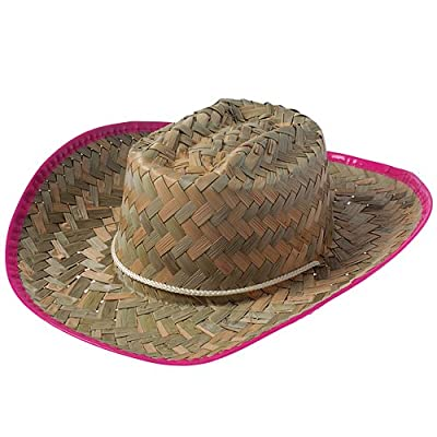 Cowgirl Hats - Straw Cowboy Hat for Girls with Pink Trim - Cowboy Costume Hat: Toys & Games