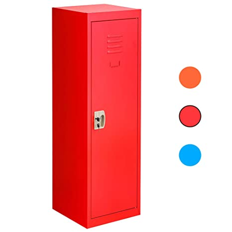 Locker for Kids Metal Locker for Bedroom,Kids Room,Steel Storage Lockers  for Toys,Clothes, Sports Gear (49 Inch, Red)