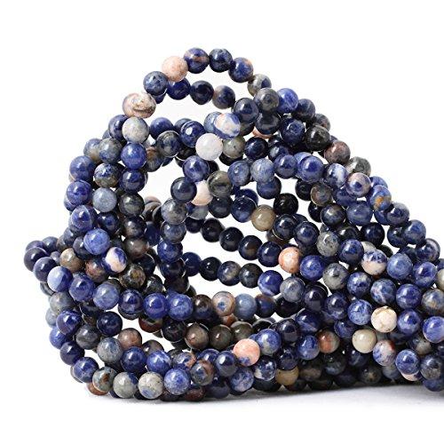 Qiwan 60PCS 6mm Natural Orange Blue Sodalite Gemstone Loose Round Beads Crystal Energy Stone Healing Power for Jewelry Making 1 Strand 15