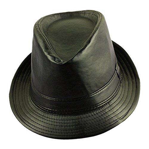 Samtree Fedora Hats for Women Men,Classic PU Leather Cap Jazz Hat(Black)