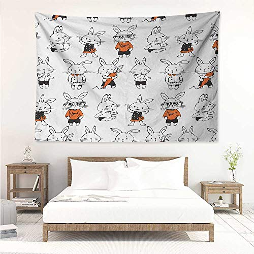alisos Funny,Wall Decor Tapestry Cute Retro Bunny Rabbits with Costumes Jack Hare Funky Bunnies Carrot Sketch Style 93W x 70L Inch Tapestry Wallpaper Home Decor Orange White ()