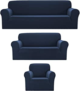Sapphire Home 3pc SlipCover Set for Sofa Loveseat Couch, Form fit Stretch & Wrinkle Free, Furniture Protector Cover, Premium Fabric, Polyester Spandex, Slipcover Diamond 3pc, Dark Blue