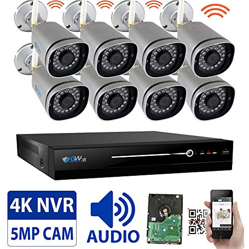 GW 8 Channel 5MP 1920P H.265 Wireless WiFi Security Camera System (NVR Kit) – 8 x HD 1920P Video & Audio Surveillance Outdoor/Indoor Wireless IP Cameras Built-in Microphone, 100FT IR Night Vision