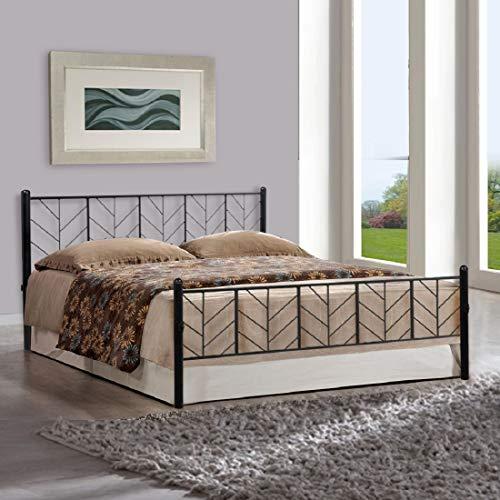 Metallika Lisbon Queen Size Metal Bed  Mild Steel   Black  By FurnitureKraft