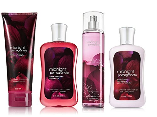 Bath & Body Works Midnight Pomegranate Deluxe Gift Set - Body Lotion - Body Cream - Fragrance Mist & Shower Gel Full Size (Gift Pomegranate)