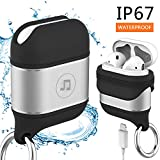 Venswell Compatible Airpods Case, Waterproof Premium Soft Silicone&Aluminium Alloy Material Airpods Cover, Protective Shockproof Case Cover and Skin with Anti-Lost Keychain (Silver)