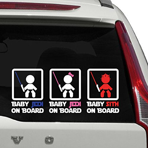 Baby Jedi On Board Sign Car Decal, Baby Darth Maul, Die Cut Vinyl Decal For Windows, Cars, Trucks, Tool Box, Laptops, Macbook- Virtually Any Hard, Smooth Surface ()