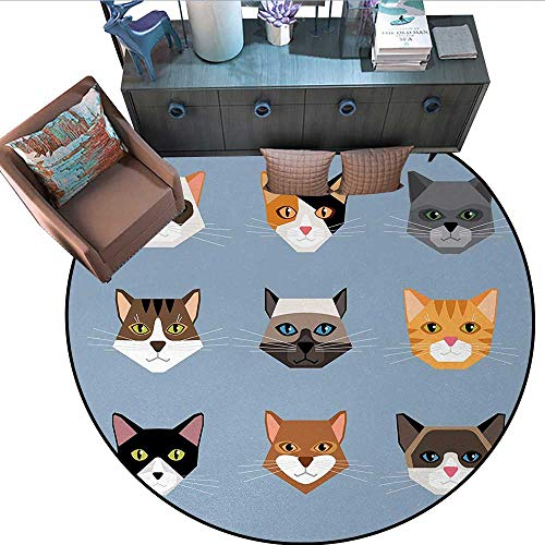 Somerset Dining Room Set - Cat Circle Rugs Animal Portrait Set with Cute Kittens Face Whiskers Contemporary Caricature Pattern Living Dining Room Bedroom Hallway Office Carpet (67