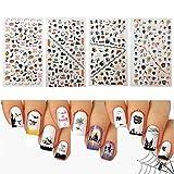 #7: Udyr Halloween Nail Decals Tip Nail Art Stickers Self-adhesive Nail Decoration for Manicure DIY or Nail Salon 4 Sheet (black 01)