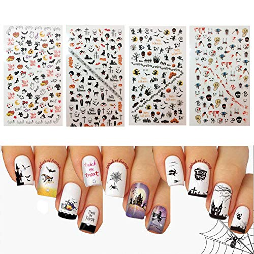 Halloween Nail Decals Tip Nail Art Stickers Self-adhesive Nail Decoration for Manicure DIY or Nail Salon 4 Sheet (black ()