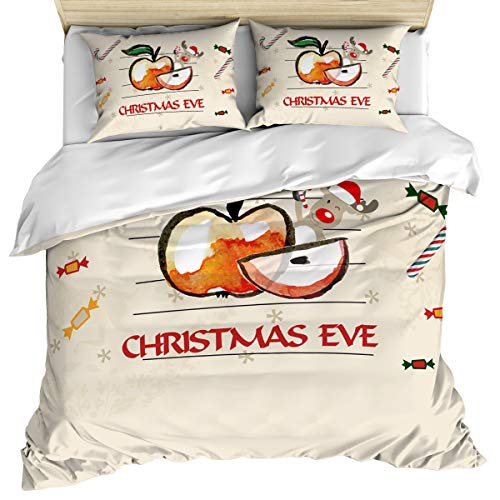 Luxury Microfiber 3 Piece Bedding Set King Size, Christmas Eve Sliced Apple Reindeer and Candy Cane 3PCS Zippered Duvet Cover Comforter Cover Set with Quilt Cover, Pillow Cases for Kids/Teens/Adults