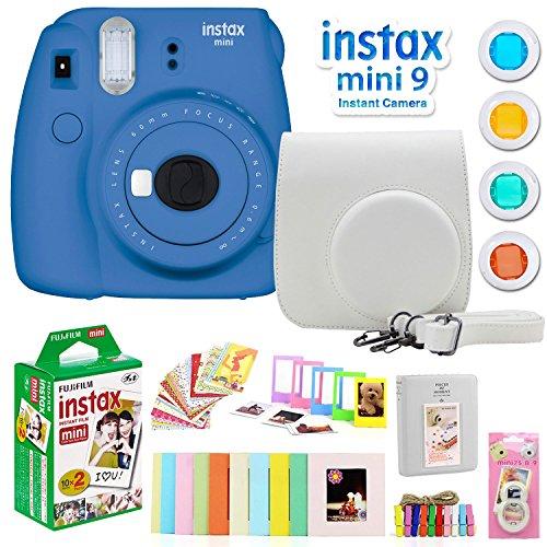 Fujifilm Instax Mini 9 Instant Camera w/Deco Gear Accessories & Film (Cobalt Blue)