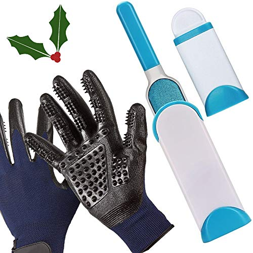 Little Holly - Holly Leaf New Pet Hair & Lint Remover Brush w/Gentle De-Shedding Pet Grooming Gloves Bundle - Double Sided w/Self-Cleaning Base - Perfect for Furniture Clothing Carpet Cars - Long & Short Hair/All