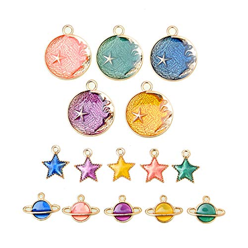 Monrocco 30pcs Enamel Star Planet Charms Collection, Mix Metal Pendant Supplies Findings for Jewelry Making