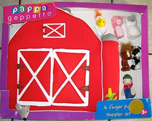 Pappa Geppetto 6 Finger Puppet Theater Set-Barnyard