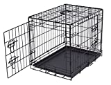 Internet's Best Double Door Steel Crates Collapsible and Foldable Wire Dog Kennel, 24 Inch (Small), Black