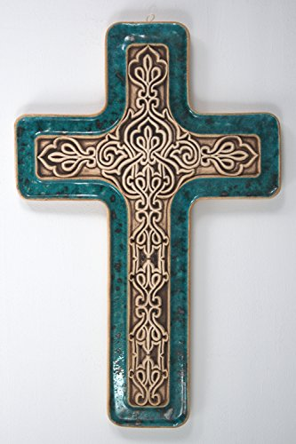 CERAMIC HANDMADE CROSS – DECORATIVE POTTERY – CERAMIC CROSSES – WALL HANGING UNIQUE CHRISTIAN DECORATION (Large, Blue)