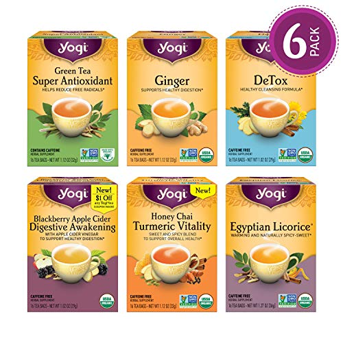 - Yogi Tea - Digestion and Detox Tea Variety Pack Sampler - 6 Pack, 96 Tea Bags Total