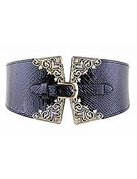 Women's Fashion Leather Wide Belt - Crocodile Leather Pin Buckle Retro Belt (Black)