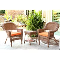 Jeco W00205_2-CES016 3 Piece Wicker End Table Set Orange Chair Cushion, Honey