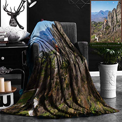 Nalagoo Unique Custom Flannel Blankets Holy Monastery Of Varlaam In Meteora Mountains Thessaly Greece Unesco World Heritage List Super Soft Blanketry for Bed Couch, Throw Blanket 50'' x 70'' by Nalagoo