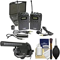 Vidpro XM-W4 Professional UHF Wireless Microphone System with Lavalier & Case with Microphone + Kit