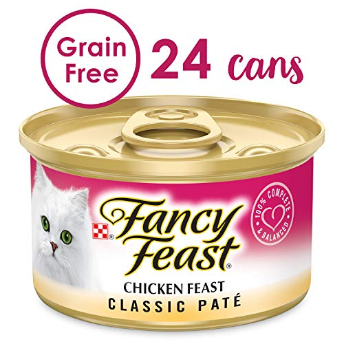 Purina Fancy Feast Grain Free Pate Wet Cat Food; Chicken Feast - (2 Packs of 12) 3 oz. Cans