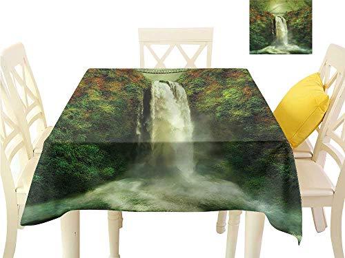 (WilliamsDecor Kitchen Table Cover Nature,Waterfall Rocks Old Bridge Non Slip Tablecloth W 60