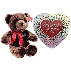 "Happy Valentines Day Heart Chocolates with 14"" Plush Chocolate Cuddle Teddy Bear Valentine Gift Set"