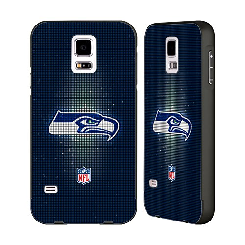 Official NFL LED 2017/18 Seattle Seahawks Black Aluminum Bumper Slider Case for Samsung Galaxy S5 / S5 Neo