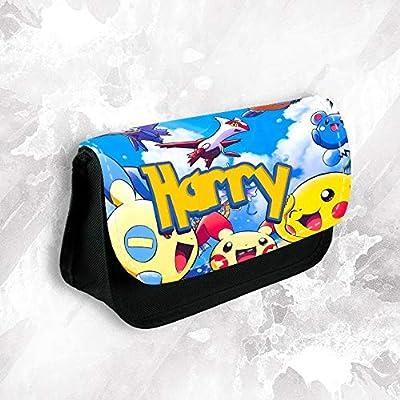 Estuche personalizado con cualquier nombre de Pokemon para maquillaje, escuela, niños, papelería: Amazon.es: Oficina y papelería