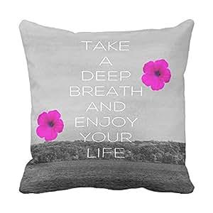 lightinglife tomar Cojín cuadrado Tome una respiración profunda Manta de algodón funda de almohada cuadrada funda de almohada 20