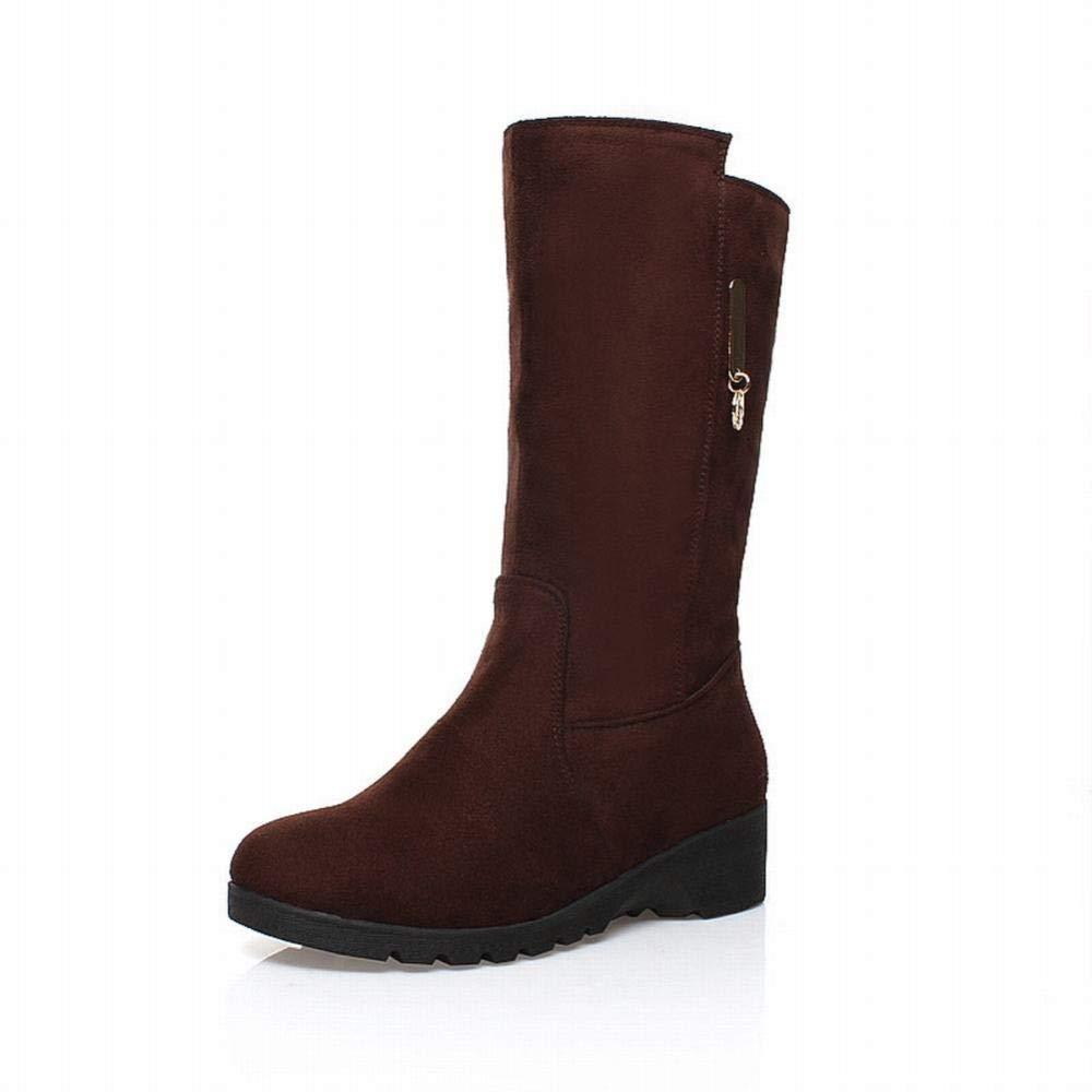 GZ Damen Stiefel - Rough Heel Stiefel High Heel Wasserdichte Wasserdichte Wasserdichte Runde Kopf Hohe Stiefel Slim Stiefel damen 'S Schleiffett 35-43 cba056