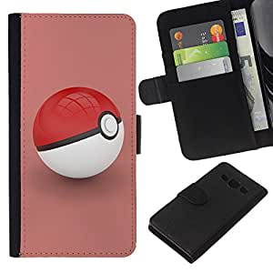 Planetar® Colorful Pattern Flip Wallet Leather Holster Protective Skin Case Cover For Samsung Galaxy A3 / SM-A300 ( Poke Red )