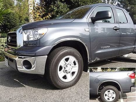Goes Over The existing Black Plastic Flare from The Factory WZ54285 QAA fits 2014-2017 GMC Sierra 4 Piece Molded Stainless Steel Wheel Well Fender Trim Molding
