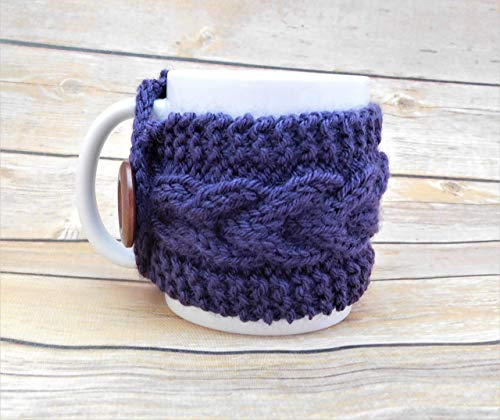 - Hand Knit Cabled Purple Mug Cozy - Mother's Day Present - Teacher Appreciation - Housewarming Gift