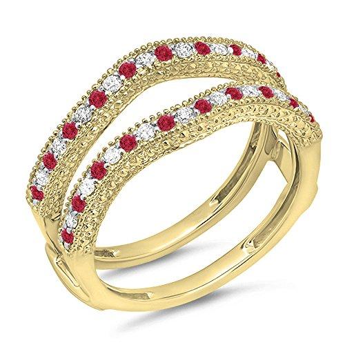 14K Yellow Gold Round Ruby & White Diamond Ladies Wedding Millgrain Guard Ring (Size 7) -