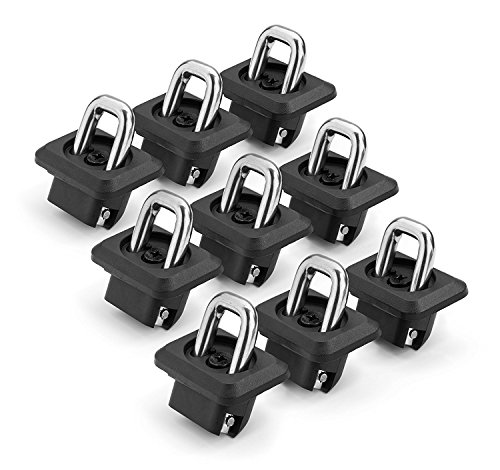 Bed Tie Down Hooks - Bull Ring 1001- 9 pack for 2007-2018 Silverado & Sierra / 2015 -2018 Colorado & Canyon Retractable Truck Bed Side Wall Tie Down Anchors Fits in 9 holes in bed- 3 down each side, 3 across the front