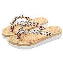 Goodtrade8® Limpieza de venta. ❤Sandalias de vidrio trenzado universal Bohemia para mujer, chica junior elástico con solapas tanga zapatillas sandalias de tacón plana gruesa parte inferior casual zapatos de verano