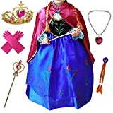 Anbelarui Girls New Princess Party Cosplay Costume Long Dress up 3-9 Years (7-8 Years, Purple Dress&Accessories Set)