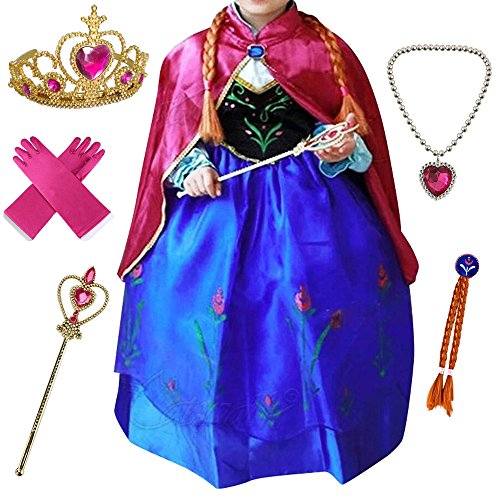 Anbelarui Girls New Princess Party Cosplay Costume Long Dress up 3-9 Years (7-8 Years, Purple Dress&Accessories Set) by Anbelarui (Image #1)