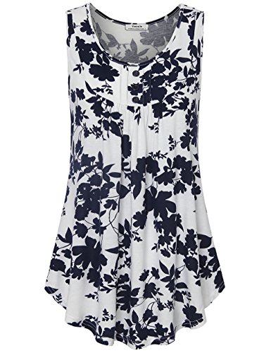 Youtalia Womens Summer Sleeveless Scoop Neck Shirts Pleats Flowy Tunic Tank White and Blue X-Large